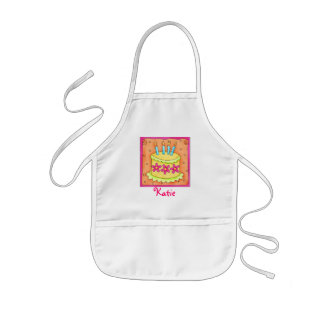 Yellow 4th Birthday Cake Kids Apron