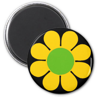Yellow 60's Flower Power Magnet