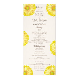 Yellow 70's Gerbera Wedding Program