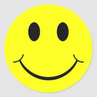 Yellow 70s Happy Smiley Face Stickers