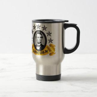 yellow abe banner travel mug