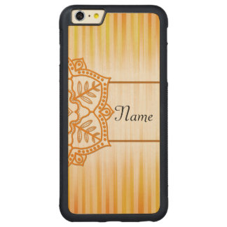 Yellow Abstract Flower Carved Maple iPhone 6 Plus Bumper Case