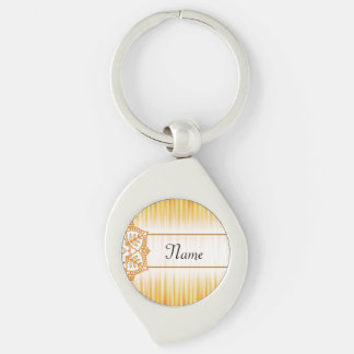 Yellow Abstract Flower Silver-Colored Swirl Keychain