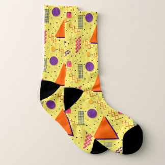 Yellow Abstract Memphis Design Socks
