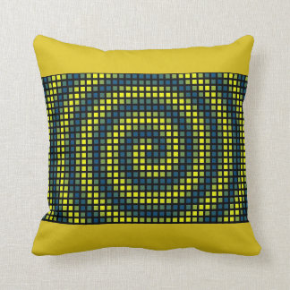 Yellow Abstract Pattern Square Blue Throw Pillow