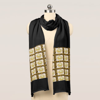 Yellow Abstract Print Jersey Scarf