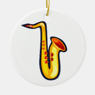 Yellow abstract sax graphic facing right saxophone ceramic ornament