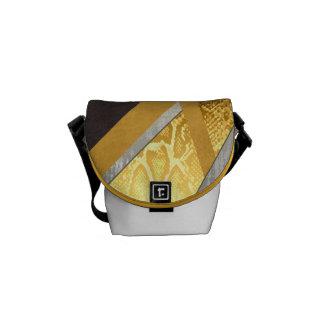 Yellow Abstract Snakeskin Mini Messenger Bag