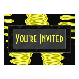 """yellow abstracts 5"""" x 7"""" invitation card"""