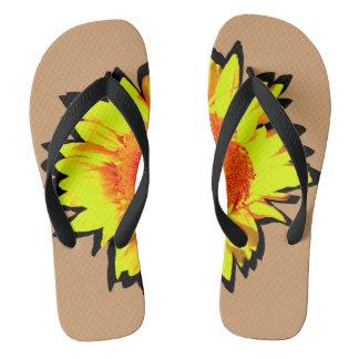 Yellow Accented Sunflower Flip Flops
