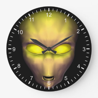Yellow Alien Face Large Clock