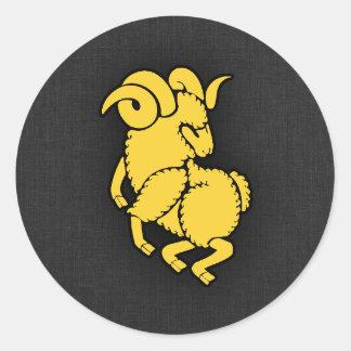 Yellow Amber Aries Classic Round Sticker