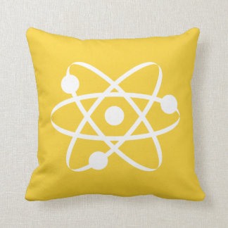 Yellow Amber Atom Throw Pillow