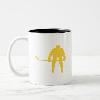 Yellow Amber Hockey Two-Tone Coffee Mug