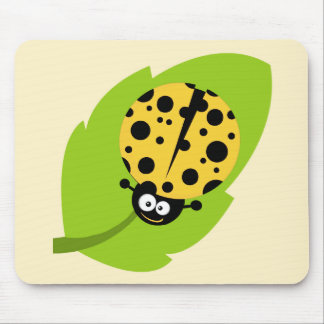 Yellow Amber Ladybug Mouse Pad