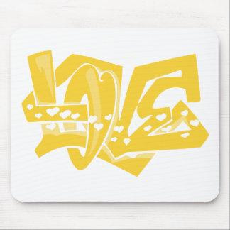 Yellow Amber Love Graffiti Mouse Pad