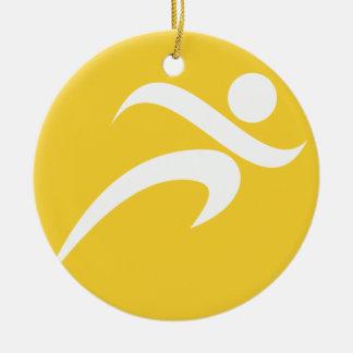Yellow Amber Running Round Ceramic Ornament