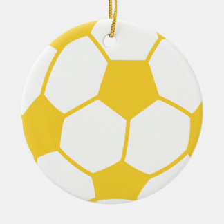Yellow Amber Soccer Ball Ceramic Ornament