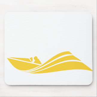 Yellow Amber Speed Boat Mouse Pad