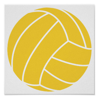 Yellow Amber Volleyball Posters