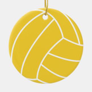 Yellow Amber Volleyball Round Ceramic Ornament