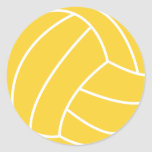 Yellow Amber Volleyball Round Sticker