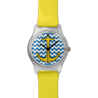 Yellow Anchor on Blue and White Chevron Watches