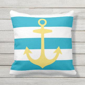 Yellow Anchor with Blue Stripes | Nautical Throw Pillow
