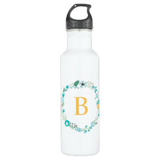 Yellow and Aqua Monogram Floral Wreath 710 Ml Water Bottle
