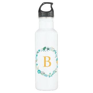 Yellow and Aqua Monogram Floral Wreath 710 Ml Water Bottle