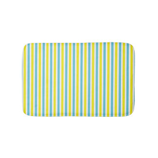 Yellow and aqua striped pattern summer colors bath mat