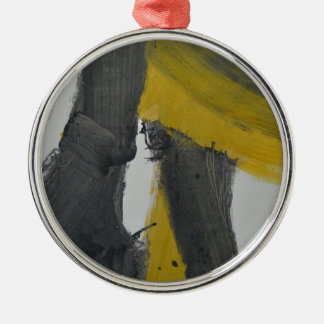 Yellow And Black Abstract 2 Silver-Colored Round Ornament