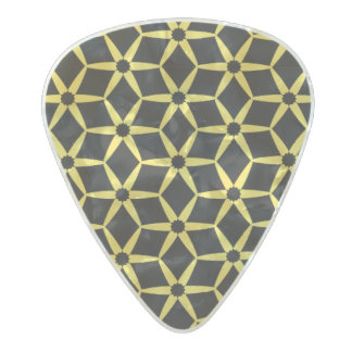 Yellow and black abstract design pearl celluloid guitar pick