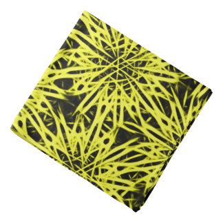 Yellow and black abstract flowers, floral pattern bandana