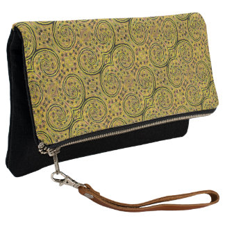 Yellow And Black Abstract Pattern Clutch