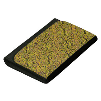 Yellow And Black Abstract Pattern Leather Wallet For Women