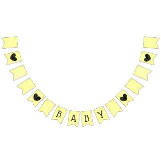 Yellow and Black Baby Heart Garland Banner