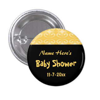 Yellow and Black Baby Shower 1 Inch Round Button