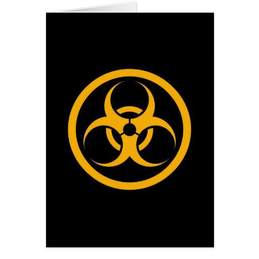 Yellow and Black Bio Hazard Circle Greeting Cards