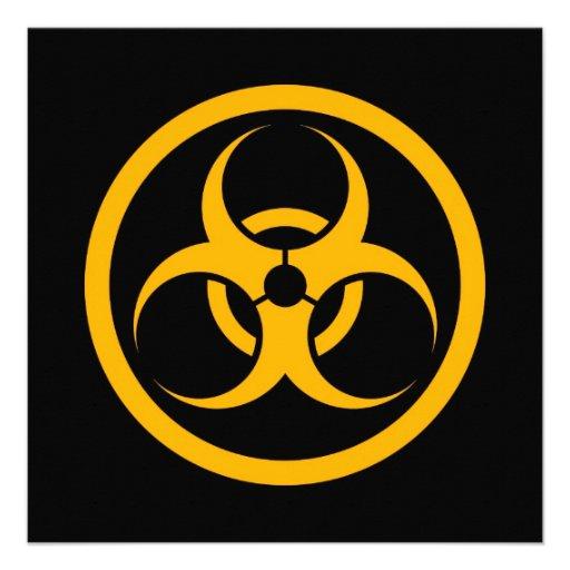 Yellow and Black Bio Hazard Circle Personalized Invitation