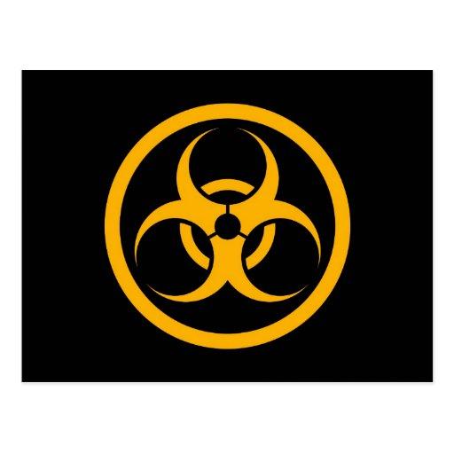 Yellow and Black Bio Hazard Circle Postcards