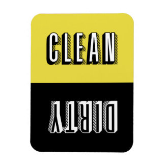 Yellow and Black Block Retro Typography Dishwasher Magnet
