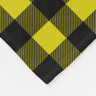 Yellow and Black Buffalo Plaid Fleece Blanket