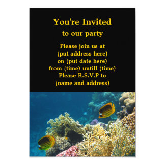 """Yellow and Black Butterfly Fish 5"""" X 7"""" Invitation Card"""