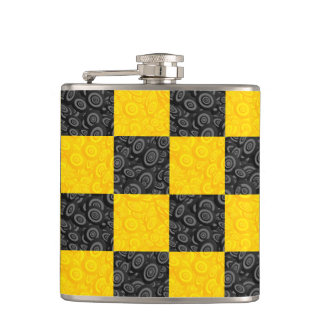 Yellow and Black Checker Hip Flask