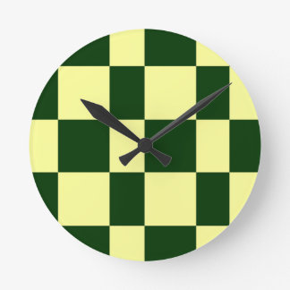 yellow and black checkerboards round clock