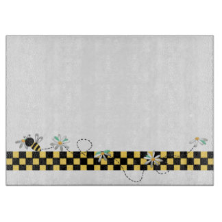 Yellow and Black Checks With Bumble Bees Cutting Board
