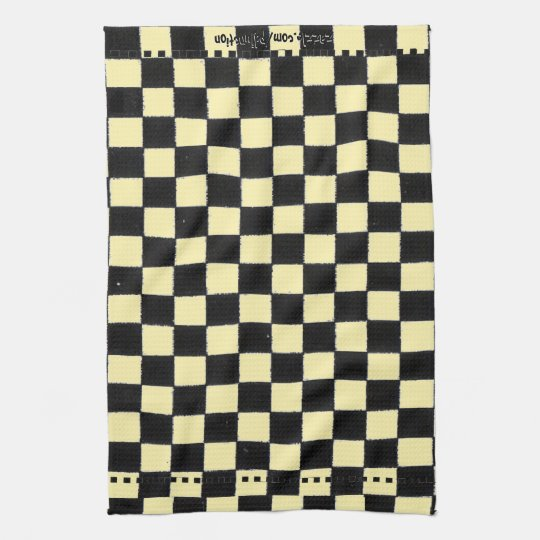 Yellow and Black Chequerboard Kitchen Towel