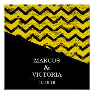 Yellow and black Chevron Distressed Wedding Poster