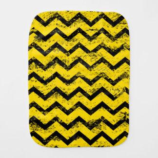 Yellow and Black Chevron Pattern Burp Cloths